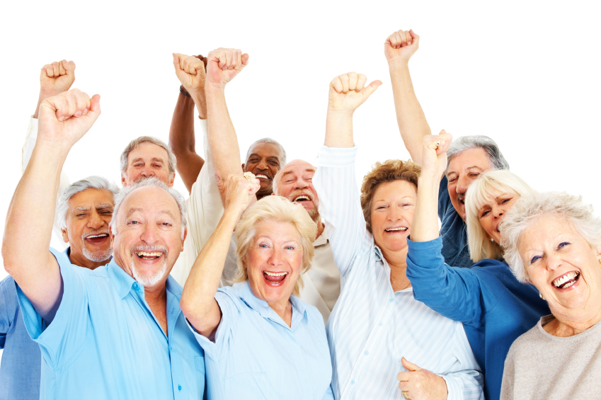 Group of happy senior citizens with their hands raised happy about Medicare